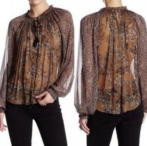 NWOT Free People Hendrix Floral Peasant Blouse (S)